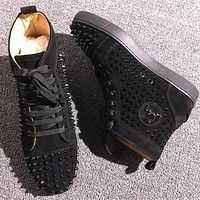 Christian Louboutin CL Louis Spikes Style #1892 Sneakers Fashion Shoes Online