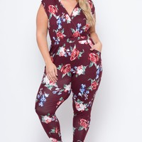 Plus Size Rosewood Cross Front Jumpsuit - Burgundy