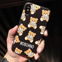 MOSCHINO Popular Women Men Cute Teddy Bear Soft Mobile Phone Cover Case For iphone 6 6s 6plus 6s-plus 7 7plus 8 8plus X