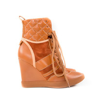 Brown Leather Pebbled Wedge Shoes