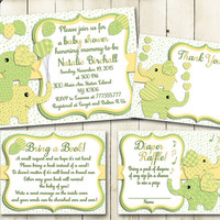 Green yellow elephant baby shower printable invitation set baby boy digital invite with inserts thank you bring a book Diaper Raffle card
