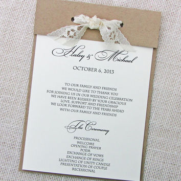 Lace, Twine and Kraft Wedding Program