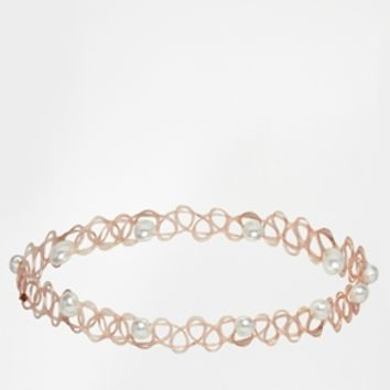ASOS Tattoo Choker Necklace with Faux Pearls