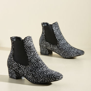Get Up and Go-Go Bootie in Black Dots   Mod Retro Vintage Boots   ModCloth.com