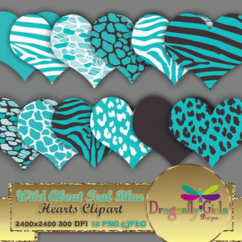 """80% OFF Sale WILD About Teal Blue 8"""" Clip Art, commercial use, digital scrapbook papers, vector graphics, printable, Instant Download"""