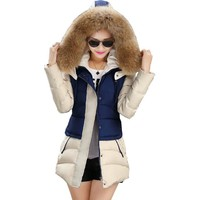winter jacket women winter jackets and coats 2016 big fur collar with hat patchwork warm  vestidos BD005