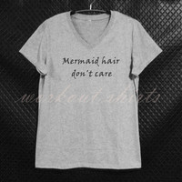 Mermaid hair don't care short sleeve shirt gray tops/ teen girl tee/ women clothes size S M L XL workout shirts/ printed t shirt