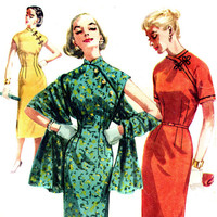Vintage 1950s Sultry Cheongsam Wiggle Dress and Shawl  - Size 12, Bust 30- Simplicity 1447