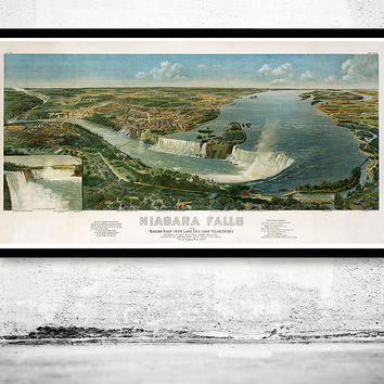 Panoramic View of Niagara Falls, Lake Erie Lake Ontario , Aerial view  United States 1891