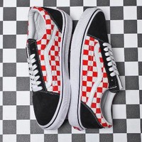 Vans Old Skool Black and Red Checkered Contrast Low Casual Shoes F-CSXY