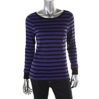 L-RL Womens Cotton Striped Pullover Top