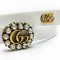 GUCCI tide brand female models hollow full diamond double G simple smooth buckle belt white