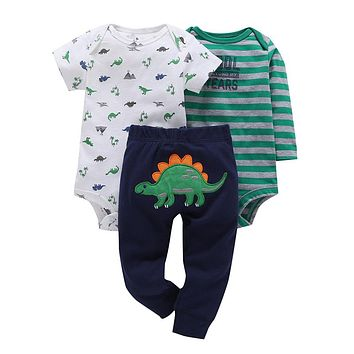 infant baby boy clothes cotton green stripe romper dinosaur model pants 3pcs cute newborn baby girl outfit costume
