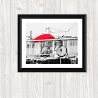Red Umbrella Bike Photo Fine Art Photography Home Decor Wall Art  Photography  Fishing  Rainy Day Print Your Own Fine Art