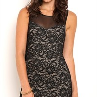 Lace Bodycon Dress with Illusion Neckline and Open Back