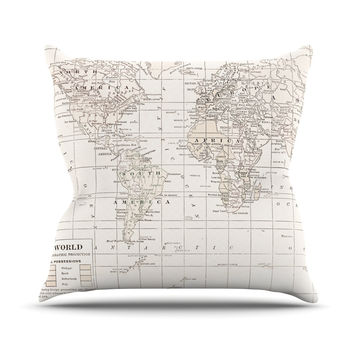 "Catherine Holcombe ""The Old World Cream"" White Throw Pillow"
