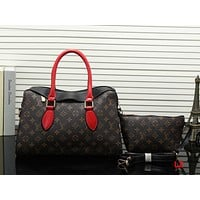 Louis Vuitton LV Women Fashion Leather Shoulder Bag Crossbody Clutch Bag Set Two Piece