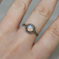 Rainbow Moonstone Circles Rope Ring, 925 Sterling Silver with Gemstone Ring, Twist Small Ring, Stacking Ring for Womens, Bohemian Jewelry