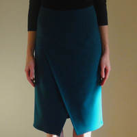 Pencil Skirt with wrap front,Casual Skirt,Evening Skirt,Midi Green Skirt,Wool skirt,High waist skirt,Front Slit Skirt,Office dress.