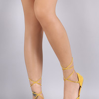 Qupid Suede Peep Toe Lace Up Flat