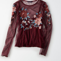 AEO Embroidered Mesh Overlay Top, Burgundy