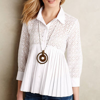 Casual White Lace Embroidered Doll Collar Long Sleeve Pleated Blouse
