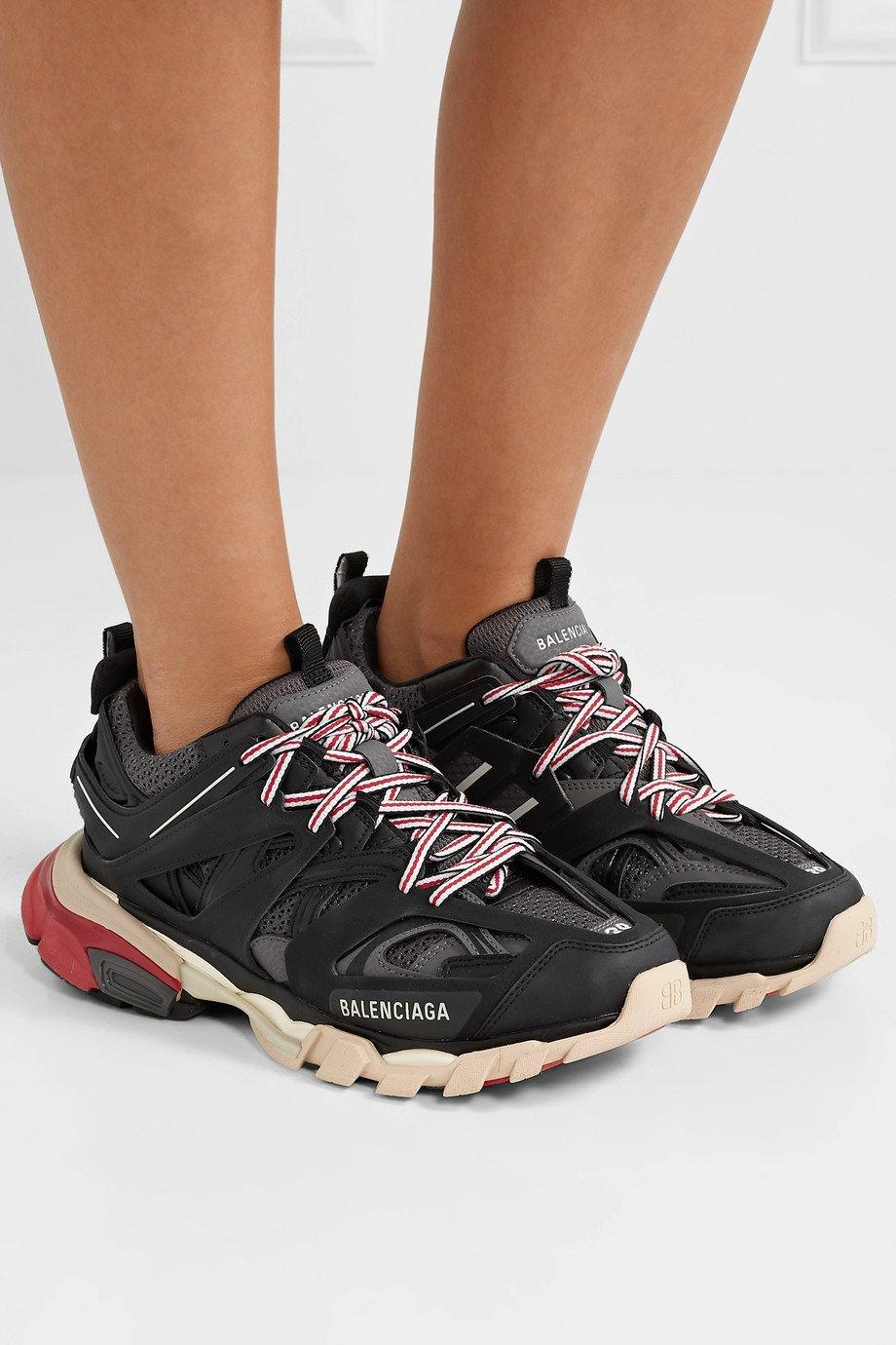Image of BALENCIAGA Track logo-detailed mesh and rubber sneakers