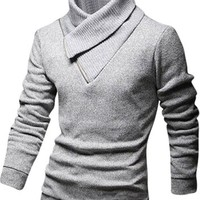 jeansian Men's Slim Fit Long Sleeves Casual Shirts Pullover Sweater 8827