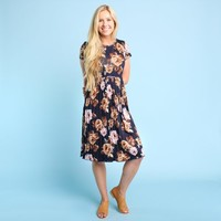 Ludlow Pleated Dress - Navy/Blush   Called To Surf