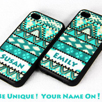 Name On Aztec tribal pattern iPhone 4 and iPhone 4S Case,Rubber Material Full Protection