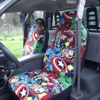 1 Set of Marvel Comic Print Car Seat Covers and 1 piece steering wheel cover custom made.