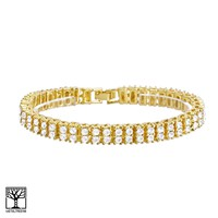 "Jewelry Kay style Men's Women's Fashion Gold Toned Lab Created Diamond 2 Row 8"" Bracelet NB 02 G"