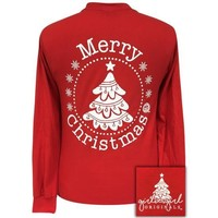 Girlie Girl Originals Preppy Merry Christmas Tree Holiday Long Sleeve T-Shirt