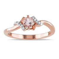 4.0mm Morganite and Diamond Accent Promise Ring in Rose Rhodium Plated Sterling Silver - View All Rings - Zales