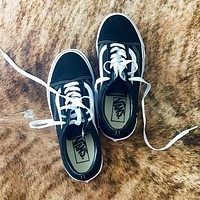 Vans Fashion New Women Men Running Sports Leisure Shoes Black