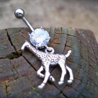 giraffe belly button ring by sindys on Etsy