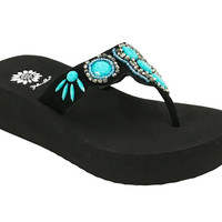Yellow Box Cherilyn Turquoise Flip Flops