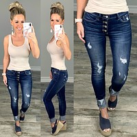 Kan Can Exposed Button Cuff Jeans