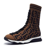 FENDI Trending Woman Stylish Knit Socks Boots Breathable Sneakers Running Shoes Coffee