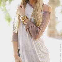 Classic Baseball Tee - Taupe - Three Bird Nest | Women's Boho Clothing & Indie Accessories