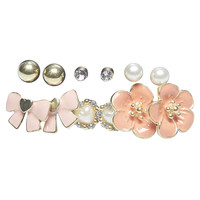 Large Flower & Bow Button Earring 6-Pack   Wet Seal