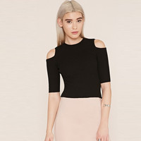 Knitted Cutout Shoulder Half Sleeves Stretch Crop Top