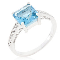 Sterling Silver and Simulated Blue Topaz Ring
