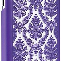 Galaxy S5 Case, GreatShield [TACT Damask Design] Embossed Pattern Slim Fit Snap On Hard Case Back Cover for Samsung Galaxy S5 S V (Purple)
