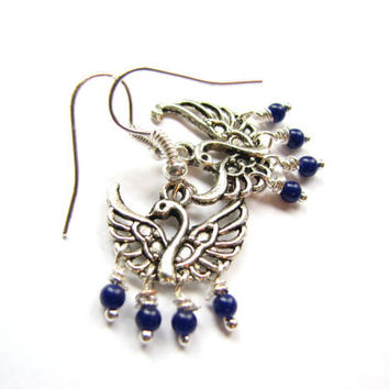 Small Chandelier Earring - Swan Charm Navy and Silver Beaded Dangle Earrings