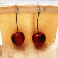 Charming Red Cherry Earrings
