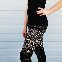 Leggings Black and Cream