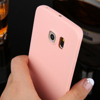 New Arrival Candy colors Soft TPU Silicon phone cases For Samsung Galaxy S6 S6 Edge S6 Edge Coque with logo window