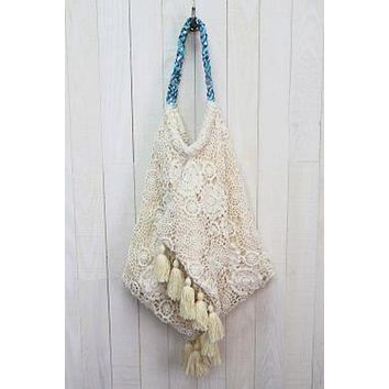 Crochet Lace Hammock Bag with Tassels by Lovestitch
