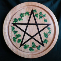 Hand painted Pentacle Altar Plate